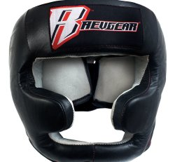 Leather Headgear w/ Cheek Protector and Chin Protection