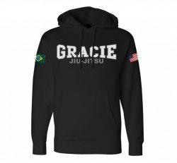 Sweat Shirts and Pants:  Retro Gracie Flag Hoodie (Black)