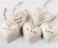 Cream Metal Hanging Heart With Message