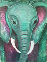 "Elephant Painting by Jina Daniels (16x24) ""Cosmic Guardian"""