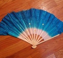 Teal Silk Fans (each)