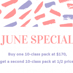 June Special - Buy One 10-Class Pack, Get One 1/2 Off