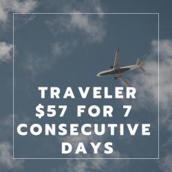 Traveler $57 for 7 Consecutive Days