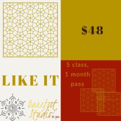 LIKE IT- 5 class 1 month pass