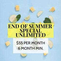 END OF SUMMER SPECIAL - UNLIMITED YOGA CLASSES (monthly payments, 6 month minimum)