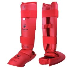 WKF Karate Shin & Instep pad - Red (all sizes)