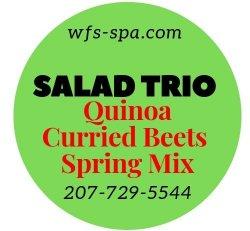 SALAD Trio Quinoa  Curried Beets Spring Mix