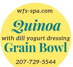 Grain Bowl Quinoa Black Bean Asparagus with Yogurt Dill Dressing