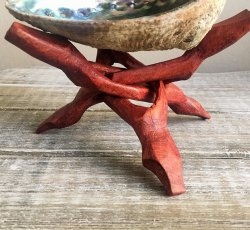 Wooden Abalone Tripod Stand