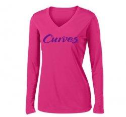 Sport-tek V-neck Sport Long-sleeved T-shirt- Hot Pink (US)