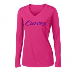 Sport-tek V-neck Sport Long-sleeved T-shirt- Hot Pink (CA)