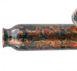 Handcrafted Engrave Design 100% Pure Copper Water Bottles 1 Litre