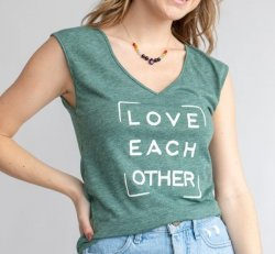 """SLT ~ """"LOVE EACH OTHER"""" JADE V-NECK MUSCLE TEE"""