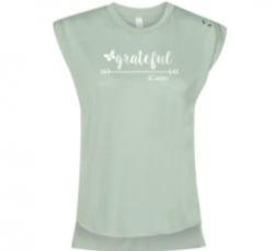 15% Off 'Grateful' Flowy Tee with Rolled Cuff