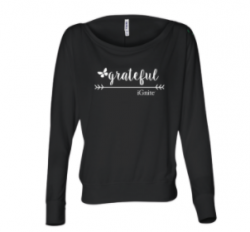 'Grateful' Flowy Long Sleeve Off the Shoulder