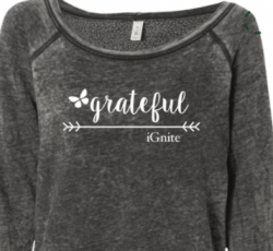 SALE! 15% Off! 'Grateful' Fleece Wide Neck Sweatshirt