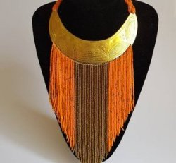 maasai orange necklace