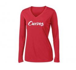 Sport-tek V-neck Sport Long-sleeved T-shirt-Red
