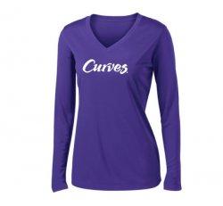 Sport-tek V-neck Sport Long-sleeved T-shirt-Purple