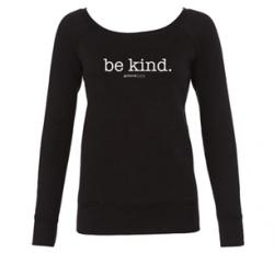 Be Kind Wide Neck Fleece Sweatshirt (Black)
