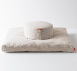 Halfmoon Mod Meditation Cushion + Zabuton - Limited Edition - Natural Linen