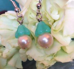 Whimsical Green Bell Earrings