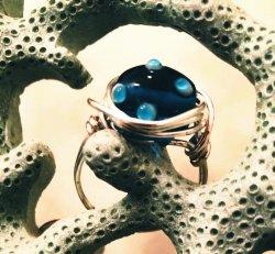 Blue Polkadot Ring (size 9.25)