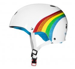 (XS/S) T8 The Certified Helmet White/Rainbow Sparkle