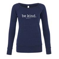 Be Kind Wide Neck Fleece Sweatshirt (Navy)