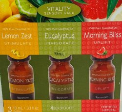 Sparoom 3pack Vitality Essential Oil Euclalyptus,Lemon Zest,Morning Bliss