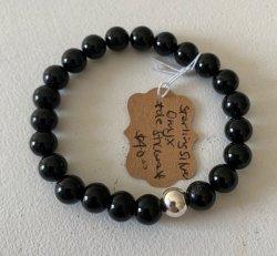 Malas By Emma - DE STRESS Onyx w/ Sterling Silver bead bracelet