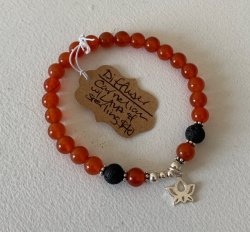 Malas By Emma - DIFFUSER Carnelian w/ Lava Stone and Sterling Silver Beads bracelet