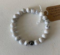 Malas By Emma - CALM Howlite w/ Hematite Bead bracelet