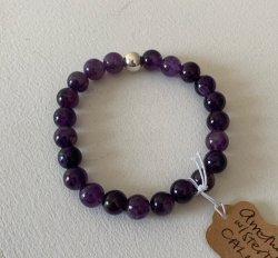 Malas By Emma - CALM Amethyst w/ Sterling Silver Bead bracelet