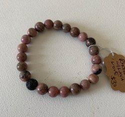 Malas By Emma - LOVE Rhodanite w/ Lava stone bead bracelet