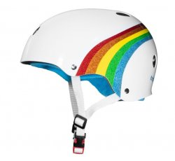 (S/M) T8 The Certified Helmet White/Rainbow Sparkle