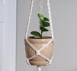 KNOTS & TASSELS - Macrame Plant Hanger WHITE