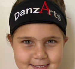Black Elastic Headbands with Embroidered DanzArts Logo!