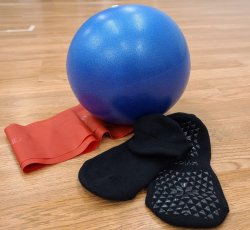 Bundle: Stability Ball, Sticky Socks, and Theraband