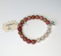 Nisha Shanti Mala Bracelet - Rhodochrosite & Rose Quartz