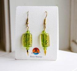Crackle Green Earrings