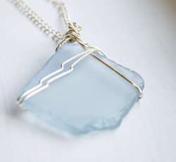 Large Sea Glass on Long Necklace