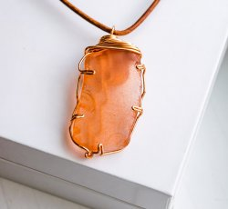 Orange Sea Glass Necklace