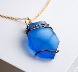 Blue Sea Glass on Gold Chain