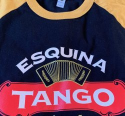 Black T shirt Gold Sleeve Samba is Alegria