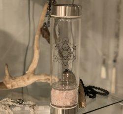 Rose Quartz Crystal Infuser Water Bottle