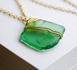 Long Green Sea Glass Necklace