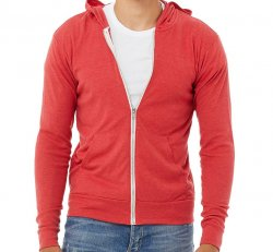 Light Zip Up Hoody - Red