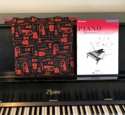 Homemade Music Books Bag for Red Door Shelter - Red and Black Instruments
