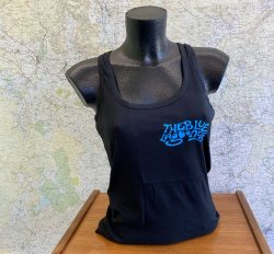 Blue Lagooners Women's Black/Blue 100% Cotton Vest Top